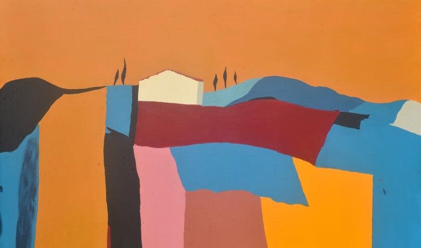 Schilderij van een landschap van Rob Roukema.