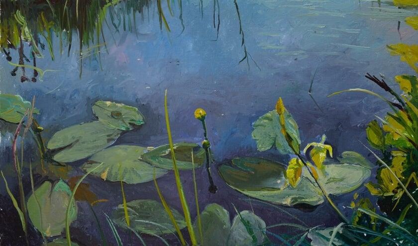 Een schilderij van Gosse Koopmans met pompebladen.