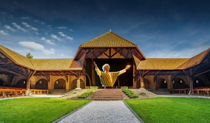 Bonifatius op groot filmdoek in de kapel.
