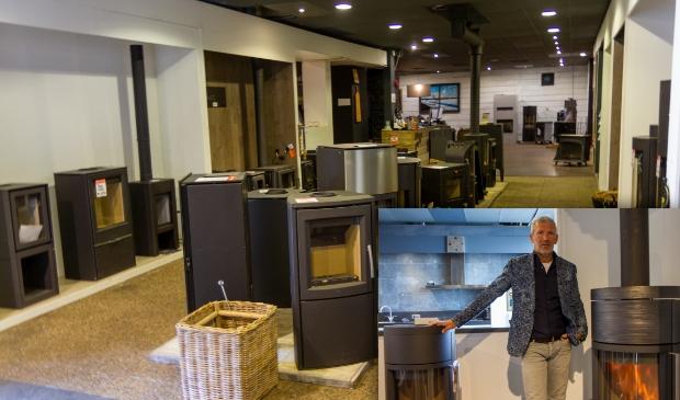 Een deel van de showroom van Kachelspecialist BV. Inzet: Feico Prosje toont de kachels van het merk Hase.