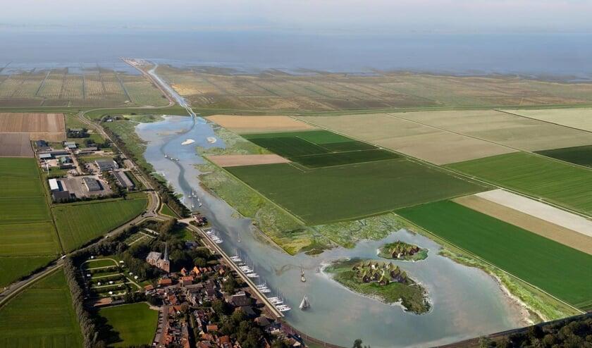 Een toekomstbeeld van Holwerd aan Zee.