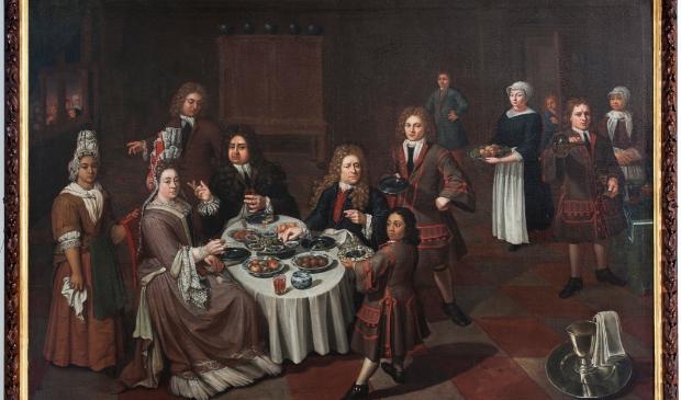 <p>Het schilderij &ldquo;Maaltijd met Julius Schelto van Aitzema, Sara van der Broek, gasten en bedienden&quot;</p>