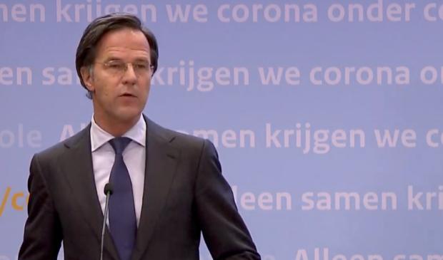 <p>Premier Rutte tijdens de persconferentie.</p>
