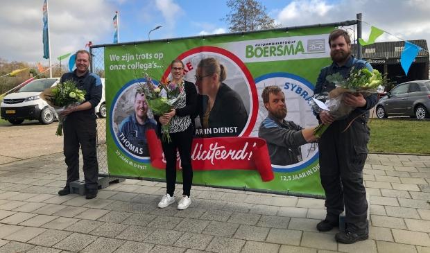 <p>Alle drie jubilarissen werden in het zonnetje gezet: Thomas Kempenaar, Tsjikke Bijlsma en Sybrand van der Werf&nbsp;</p>