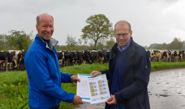 <p>Ambassadeur Joop Atsma krijgt de weidevogelbingokaart uit handen van voorzitter Albert van der Ploeg</p>