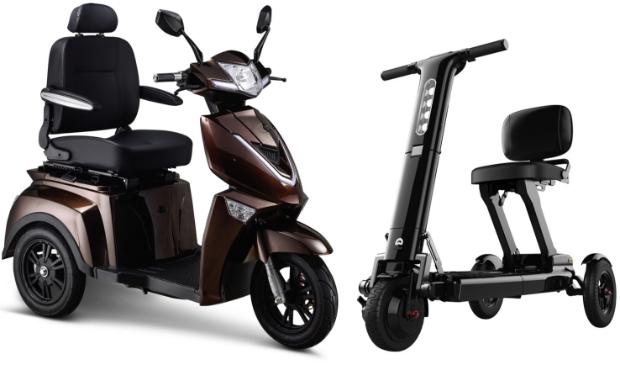 <p>De volledig elektrische IVA Z1000 scootmobiel en de Relync R1 opvouwbare scootmobiel.</p>