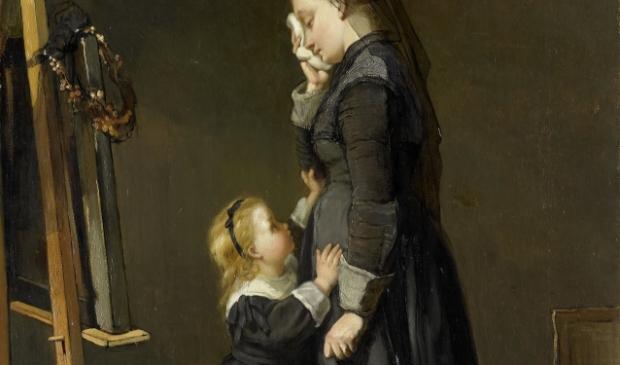 Uitsnede van: 'De schildersweduwe', van Kate Bisschop-Swift, 1870.