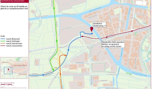 <p>It Swetteh&ucirc;s is te vinden in Leeuwarden, pal westelijk van het Van Harinxmakanaal, iets ten noorden van het Margaretha Zelle-aquaduct.&nbsp;</p>