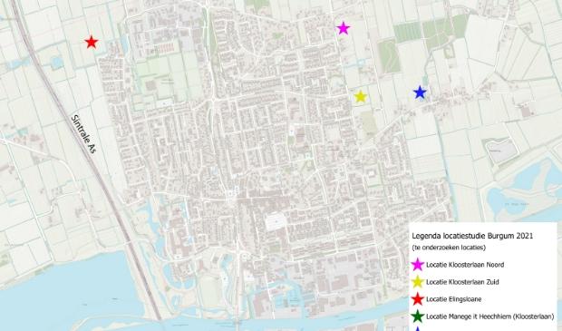 <p>Net boven de roze ster is de groene ster (Locatie Manege) weggevallen. De blauwe ster betreft de locatie Tuincentrum aan de Nieuwstad, de meeste oostelijke locatie.</p>