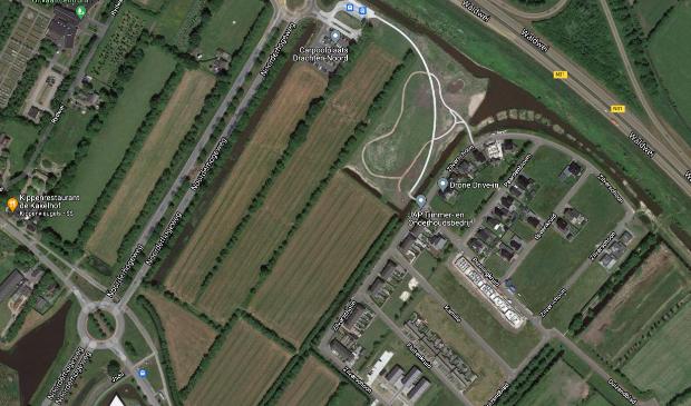 <p>Satellietfoto van het te bebouwen gebied in het noordelijk deel van Drachten, zuidelijk van de W&acirc;ldwei.</p>
