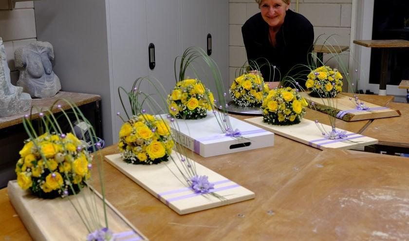 Resultaat paasworkshop bloemschikken. (foto: Ton van Raamsdonk)