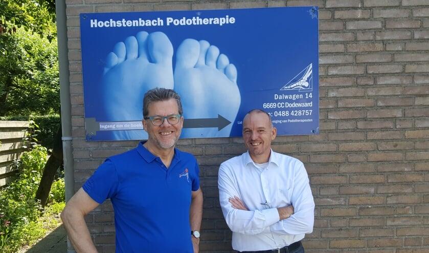 Foto: Links Huub Delea en rechts Franklin Hochstenbach:  samenwerking voor de diabetesvoet