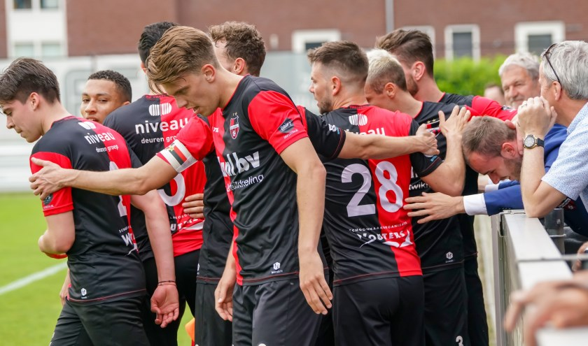 18-05-2019: Voetbal: De Treffers v Jong Almere City FC: Groesbeek2de divisie   2018-2019 (l-R) De Treffers viert de 1-0 bij geblesseerde Bas Hendriks