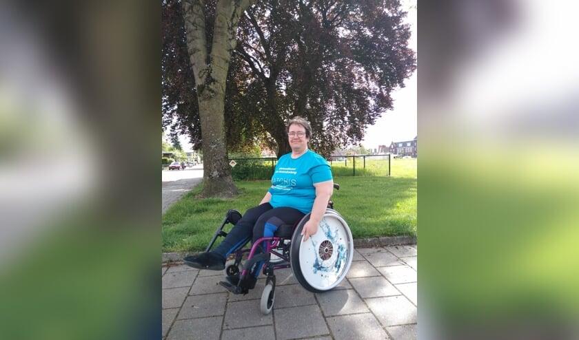 Lia aan het trainen voor de rolstoel4daagse. (foto: Lia van de Kaa)