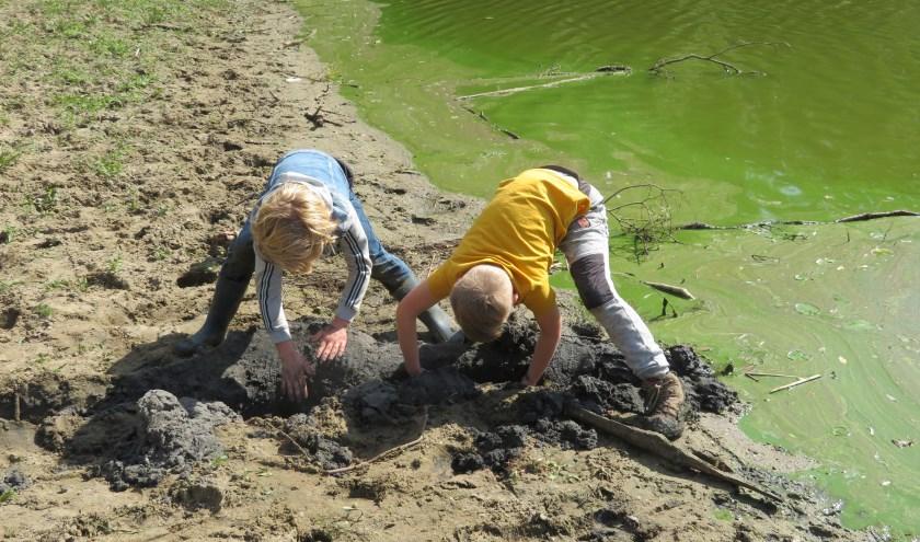Kinderen aan het werk tijdens een Polderbendetocht. (foto: Henny Campschroer)
