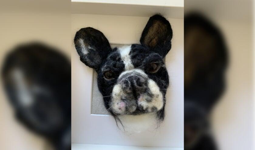 <p>Een stoere hondenkop in zijn lijst. (foto: Janet van Zutphen)</p>