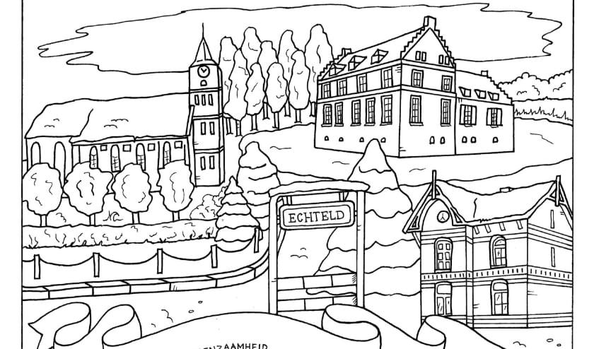 Kleurplaat van het dorp Echteld als voorbeeld