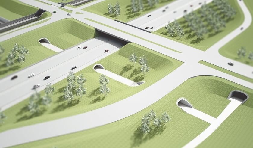 <p>Aansluiting Bemmel met fietstunnels. (foto: Ney & Partners)</p>