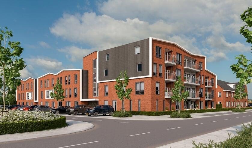 Zij-aanzicht woonzorglocaties, links Mookerhof, rechts Mookerplein.