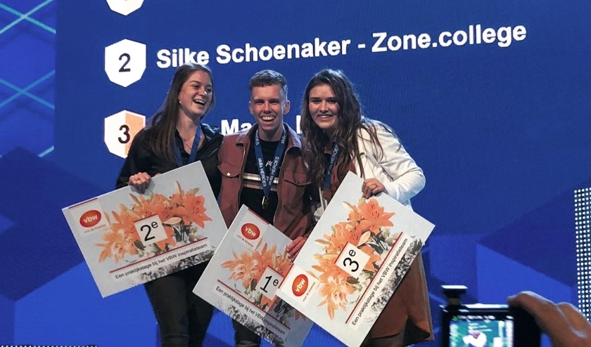 Links: Silke Schoenaker 2e plek - midden: Rik Masson 1e plek - rechts: Roos Maat 3e plek. (foto: Arianne Masson)