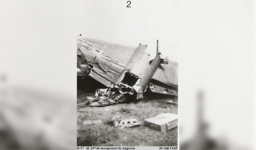 B17 neergestort in Angeren 30-07-1943. (foto: Archief Wabo research)