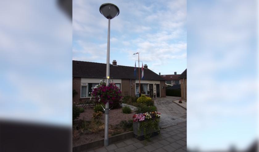 Bloemen aan de lantaarnpaal en bloembak, op de achtergrond de vlaggen. (foto: Jaap Stienstra)