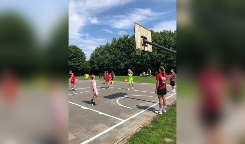 Basketbalveld buiten bij Sportpark Ressen. (foto: Anouk Biesters)
