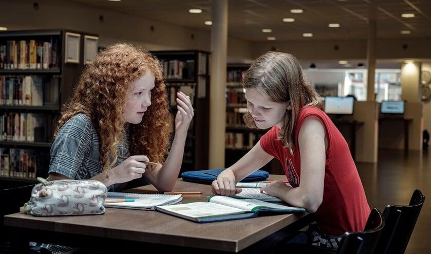 Huiswerk maken in de bibliotheek.