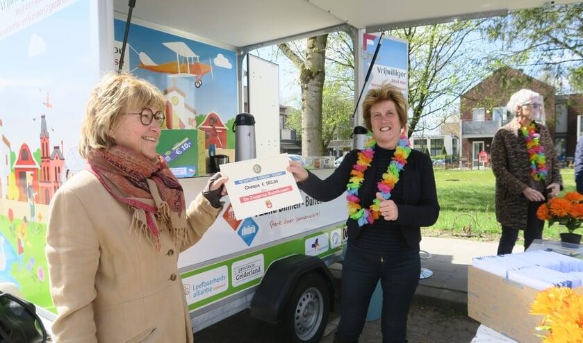 <p>Rotary overhandigt cheque aan Zwaanse Buurtkraam. (foto: Gerard Nijhuis)</p>