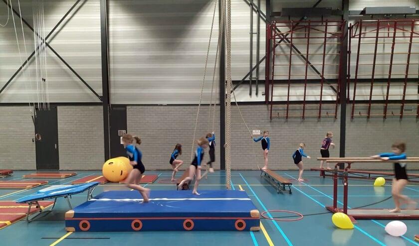 <p>DGV leden in actie tijdens de gymles. (Eigen foto)</p>