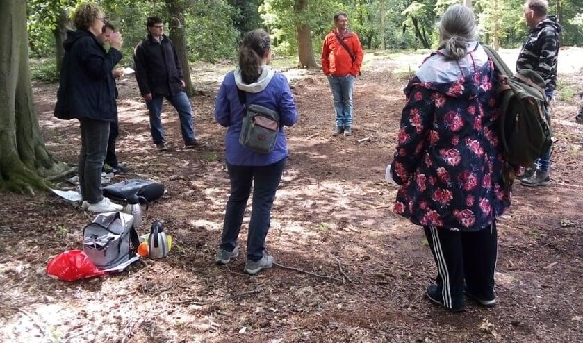 <p>Walk&Talk in het bos onder leiding van Jos Roukema. (foto: Eline van Berkum)</p>