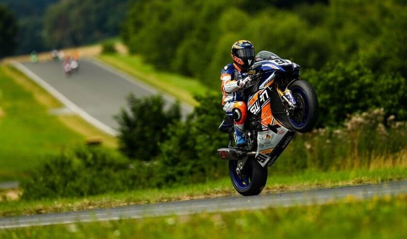 <p>Bastien Mackels in actie op het circuit van Schleiz. (foto: SWPN)</p>