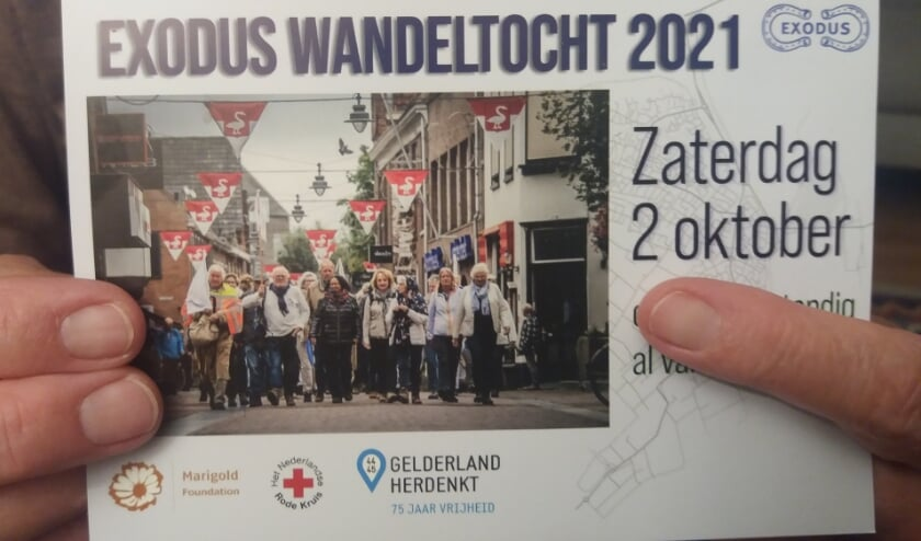 <p>Via een folder wordt de wandeltocht aangekondigd. (foto: Hanny Harrewijn)</p>